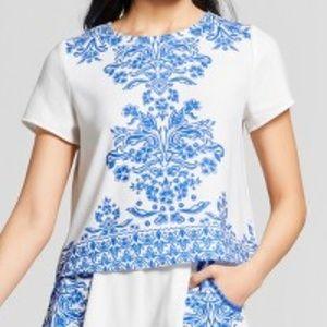 Xhilaration Short Sleeve Printed Top Blue & White